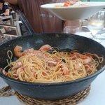 spaghetti di mariscos già toccati dagli affamati!