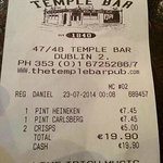 receipt to show the cost!