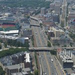 View from Prudential Tower. Fenway to the left. Buckminster across the bridge t the right