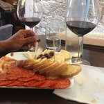 Yummy meat and cheese plate