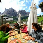 Pizza with view on the Dolomites