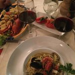 Seafood pasta and tomato salad- both outstanding!