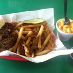 Jumbo Pork w/ fries & jalepeno mac.