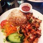 Chicken shish with rice