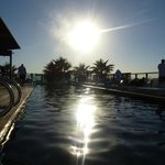 Sun setting over the pool