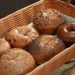 Basket of delicious, fresh baked bagels!
