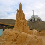 Sand sculpture exhibition at end of line