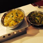 Chicken jalfrezzi and vegetable curry