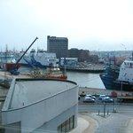 view of harbour from top floor of museum