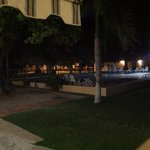 View of the swimming pool at night