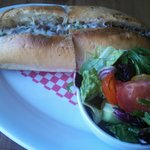 Philly Cheesesteak Sandwich & Salad at Buddy V's
