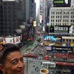 Vue sur Times Square depuis la terrasse de l'hôtel