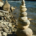 Cairns on the beach. We had fun stacking them!
