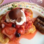 Saturday's breakfast: strawberry french toast and sausage