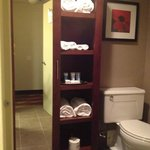 The toilet and armoire area