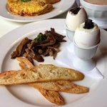 Holder - soft boiled eggs with truffle and mushrooms