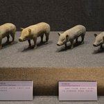 Figurillas de cerdos encontradas en la tumba.