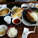 Spicy miso ramen,  small tempura,  and hamburger steak with Gupta.