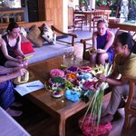 Learning how to make Balinese offerings in the private villa