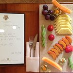 Birthday message & fruit plate in room upon arrival