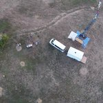 An aerial view above the launch site. Getting it ready.