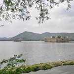 The Jal Mahal Summer Palace accros the road