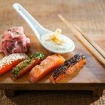 Beizfisch-Sashimi, Honig-Senf-Dill, Ingwerradiserl
