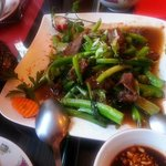 Authentic Vietamese cuisine - duck beef with choi sum vegtable