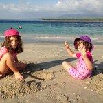 the girls enjoying the beach