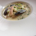 The seafood chowder beautiful and light