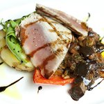 Char-grilled yellow fin tuna (C) w/ aubergine caponata, basil, pine nuts & fennel seeds, new