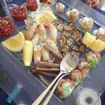 die rohen Meeresfrüchte-Spezialitäten, die ....