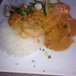 Coconut curry grouper with rice