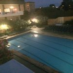 pool at night from balcony / seating area