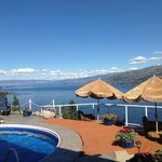 The pool area overlooking Lake Okanagan