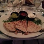 quesadillas with three dips- choice of steak, chicken or pork