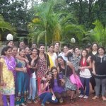 The Big Group of 20 people at the hotel grounds garden