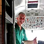 Sam Masters showing us the BAC1-11 cockpit.
