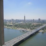 A view from the balcony on the 25th floor, with the Nile and the Tower of Cairo.