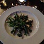 asparagus, asparagus soup shot, parmesan polenta, lemon and ginger dressing