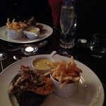 The chips that were nowhere near as nice but the prawn and steak were amazing