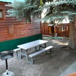 shared side yard with bench and BBQ grill Cozy Cabin #9
