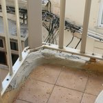 Previous repairs to balcony