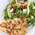 Chopped Kale + Spinach Salad with Grilled Chicken