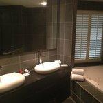 Impecable el amplio baño con sus amenities