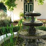 The water feature in the lavender garden.