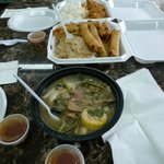 From top: Adobo and rice, pancit and lumpia, sitsaron