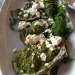 Oysters w/spinach and feta, hot, creamy, and wonderful.