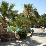 zicht op zwembad en tuin vanuit het hotel