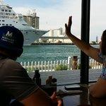 Waving bye to the cruise ships